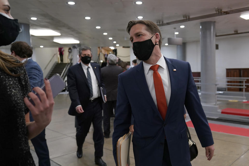 Sen. Ben Sasse, R-Neb., leaves after the first day of the second impeachment trial of former President Donald Trump on Capitol in Washington, Tuesday, Feb. 9, 2021. (AP Photo/Susan Walsh)