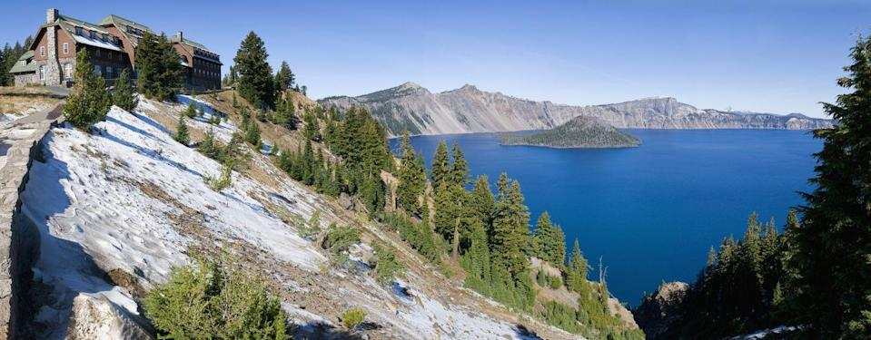 "<p>Ever since it first opened in 1915, the <a href=""https://www.travelcraterlake.com/"" rel=""nofollow noopener"" target=""_blank"" data-ylk=""slk:Crater Lake Lodge"" class=""link rapid-noclick-resp"">Crater Lake Lodge</a> has offered guests stunning views of Oregon's Crater Lake, a deep blue lake in a caldera formed nearly 8,000 years ago by a large volcanic eruption and the subsequent collapse of mountain in the Cascade Range. Thanks to an expansive renovation in 1994 in which the lodge's iconic great hall was painstakingly dismantled and rebuilt, guests today enjoy modern accommodations with all the charm of the lodge's original rustic character.</p>"