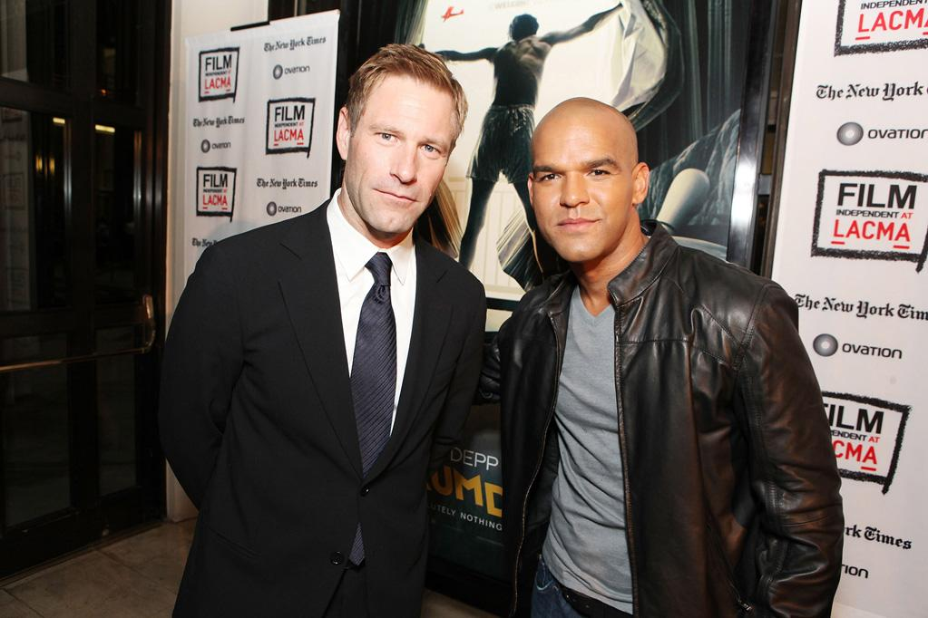 """<a href=""""http://movies.yahoo.com/movie/contributor/1800022565"""">Aaron Eckhart</a> and <a href=""""http://movies.yahoo.com/movie/contributor/1804894742"""">Amaury Nolasco</a> at the Los Angeles premiere of <a href=""""http://movies.yahoo.com/movie/1810077951/info"""">The Rum Diary</a> on October 13, 2011."""