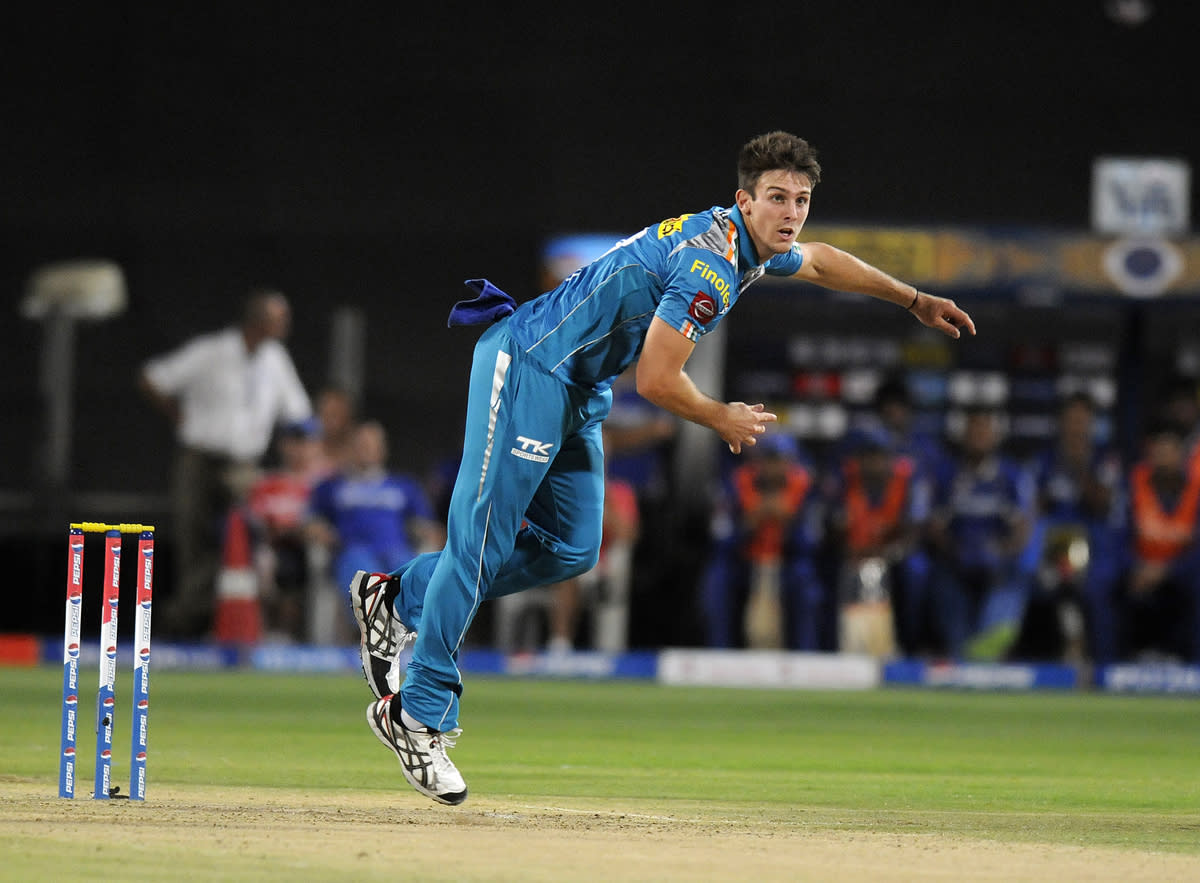 Mitchell Marsh of Pune Warriors bowls during match 13 of the Pepsi Indian Premier League (IPL) 2013  between The Pune Warriors India and the Rajasthan Royals held at the Subrata Roy Sahara Stadium, Pune on the 11th April  2013..Photo by Pal Pillai-IPL-SPORTZPICS ..Use of this image is subject to the terms and conditions as outlined by the BCCI. These terms can be found by following this link:..https://ec.yimg.com/ec?url=http%3a%2f%2fwww.sportzpics.co.za%2fimage%2fI0000SoRagM2cIEc&t=1498511071&sig=0I6gonpJXVWX8FC3blhpEQ--~C