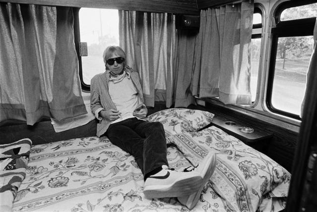 Tom Petty on his tour bus between 1981 concerts in Chicago. (Photo by George Rose/Getty Images)