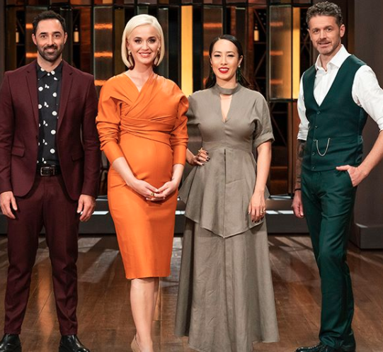 Katy Perry with the judges on MasterChef