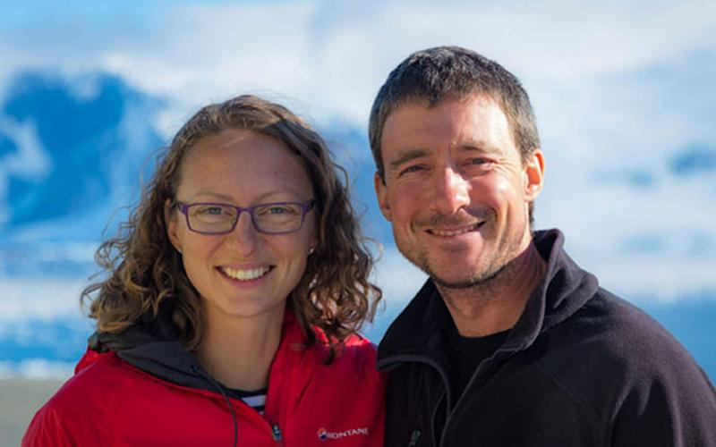 Polar field guides Julie Baum and Tom Sylvester were married over the weekend - Credit:  Neil Spencer/British Antarctic Survey