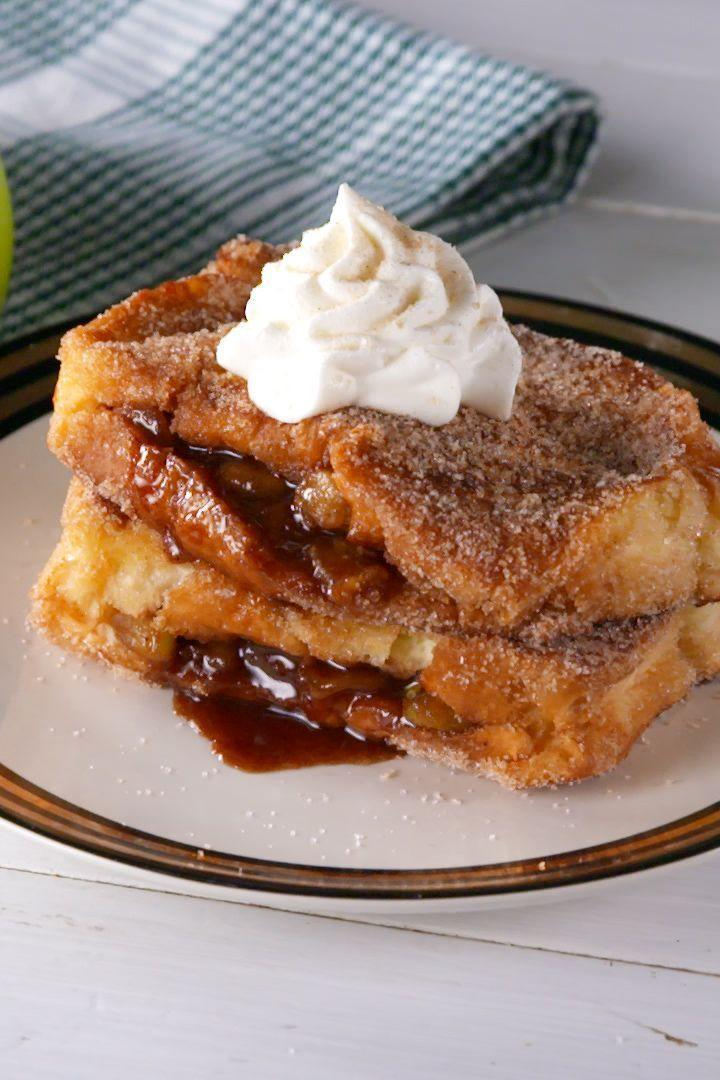 """<p><a href=""""https://www.delish.com/cooking/recipe-ideas/recipes/a55693/best-homemade-apple-pie-recipe-from-scratch/"""" rel=""""nofollow noopener"""" target=""""_blank"""" data-ylk=""""slk:Apple pie"""" class=""""link rapid-noclick-resp"""">Apple pie</a> for breakfast?! With this easy stuffed French toast, that dream can become a reality! We like it with a dollop of whipped cream, but if you're feeling extra, try it a la mode. </p><p>Get the <a href=""""http://www.delish.com/uk/cooking/recipes/a33214312/apple-pie-stuffed-french-toast-recipe/"""" rel=""""nofollow noopener"""" target=""""_blank"""" data-ylk=""""slk:Apple Pie Stuffed French Toast"""" class=""""link rapid-noclick-resp"""">Apple Pie Stuffed French Toast</a> recipe.</p>"""