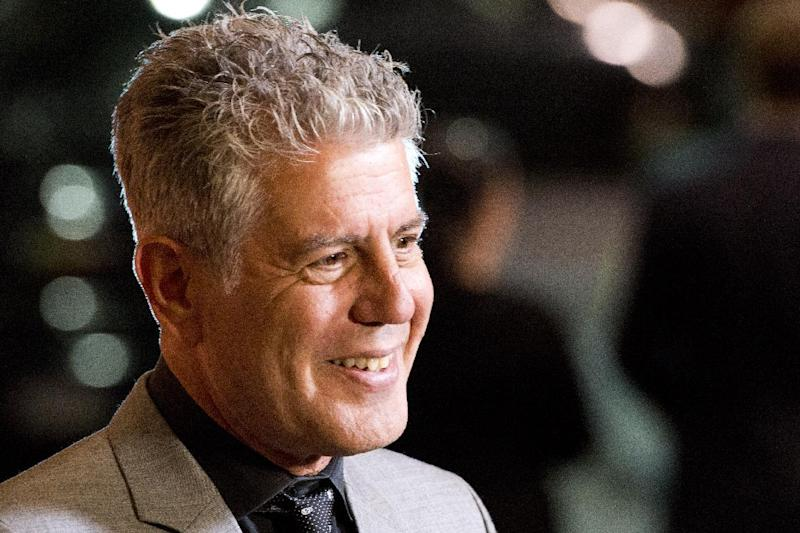 """FILE - In this Oct. 11, 2012 file photo, Anthony Bourdain attends """"On The Chopping Block: A Roast of Anthony Bourdain"""" in New York. The James Beard Foundation honored winners in media and publishing in New York on Friday, May 3, 2013, including chef Anthony Bourdain for his work on public television. His """"The Mind of a Chef"""" was named best on-location television program. (Photo by Charles Sykes/Invision/AP Images, File)"""