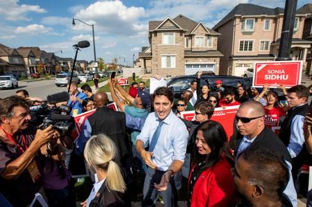 FILE PHOTO: Canada's Prime Minister Justin Trudeau greets supporters after speaking at an election campaign stop in Brampton