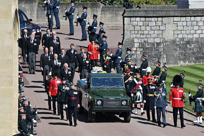 Members of the royal family follow the Duke of Edinburgh's coffin before his funeral on Saturday.