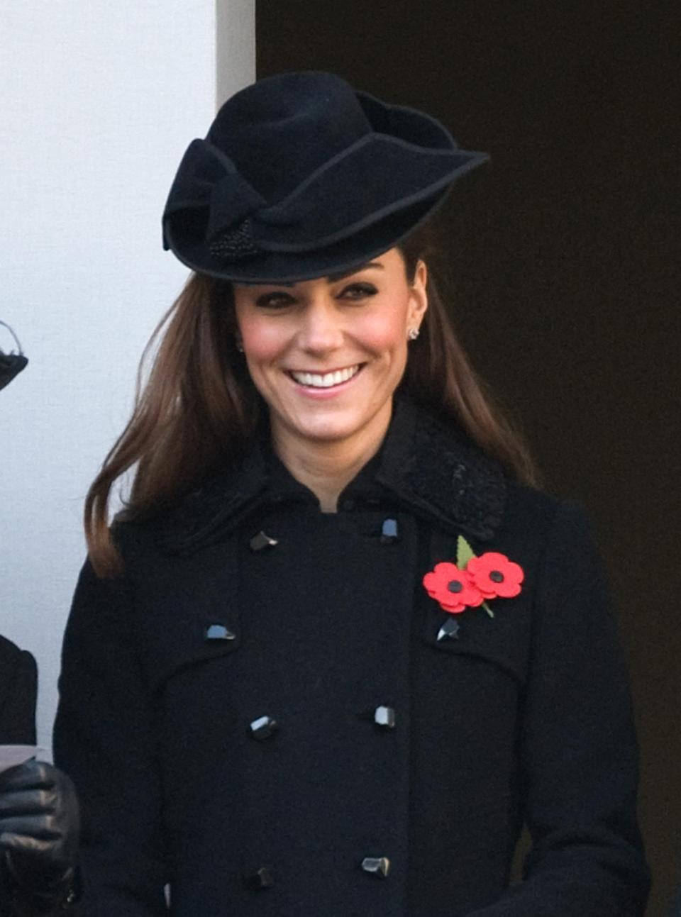 <p>For Remembrance Sunday, Kate chose a sombre coat by Diane von Furstenberg with a matching black hat by Jane Corbett. </p><p><i>[Photo: PA]</i></p>