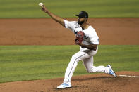 Miami Marlins' starting pitcher Sandy Alcantara throws during the third inning of a baseball game against the Toronto Blue Jays, Tuesday, June 22, 2021, in Miami. (AP Photo/Marta Lavandier)