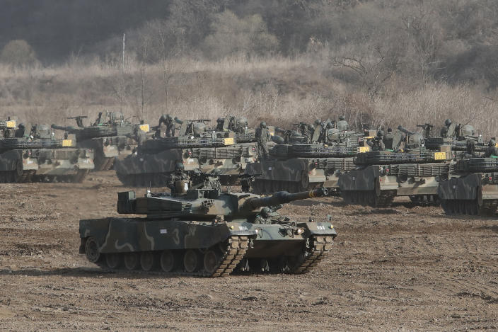 "In this Mach 17, 2021, file photo, a South Korean army's K1A2 tank moves during a military exercise in Paju, South Korea, near the border with North Korea. After giving the Biden administration the silent treatment for two months, North Korea this week marshalled two of the most powerful women in its leadership to warn Washington over combined military exercises with South Korea and the diplomatic consequences of its ""hostile"" policies toward Pyongyang. (AP Photo/Ahn Young-joon, File)"
