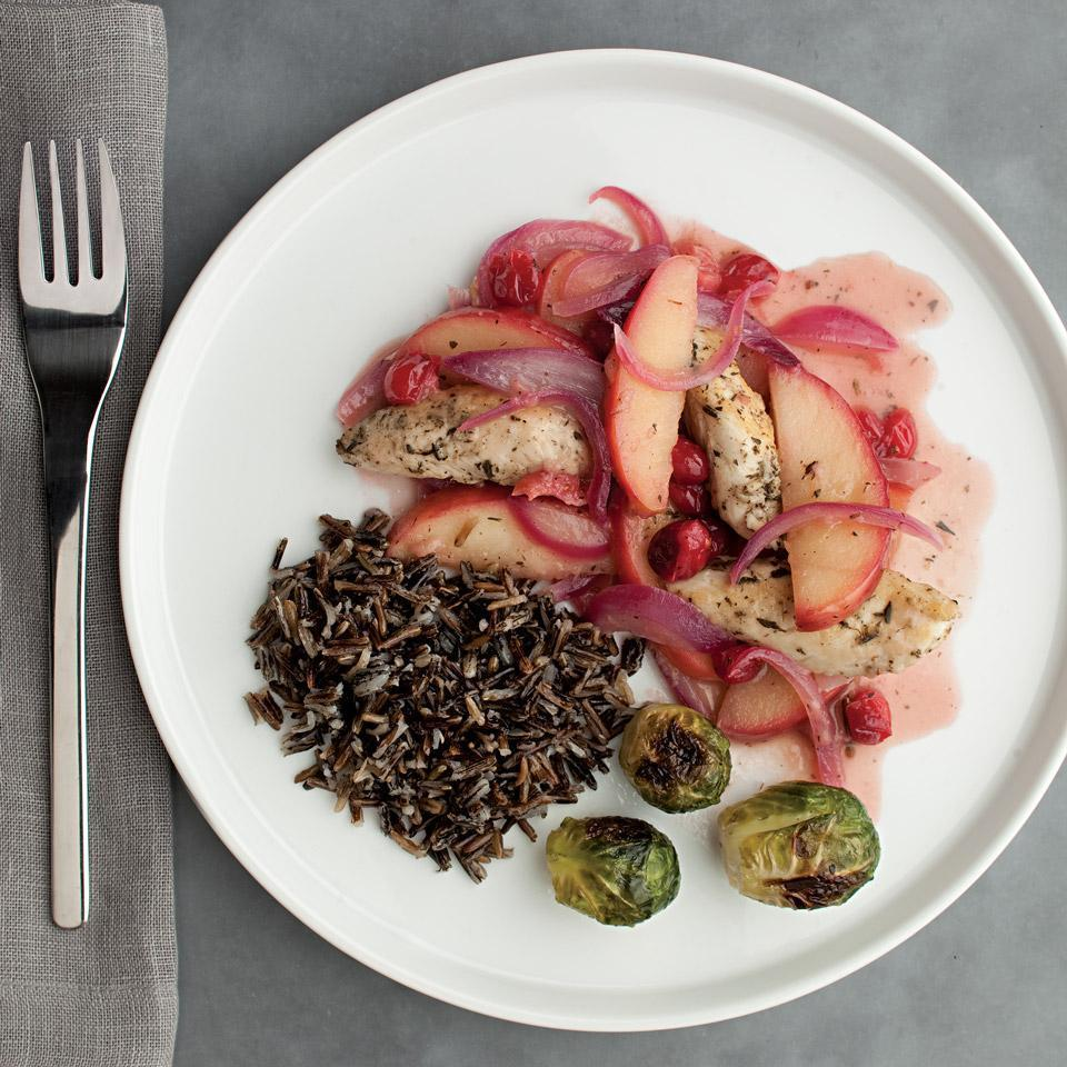 <p>Celebrate the flavors of fall with chicken cooked in a fast apple-cranberry sauce. If you prefer a less tart flavor, try dried cranberries instead of fresh. Serve with quick-cooking wild rice and roasted Brussels sprouts.</p>
