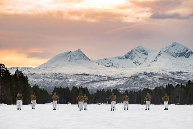 Royal Marines are undergoing a series of tough exercises as part of their cold weather training in Norway (PO Phot Si Ethell/Royal Navy/PA)