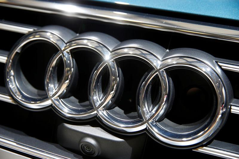 Audi logo is pictured during the Volkswagen Group's annual general meeting in Berlin