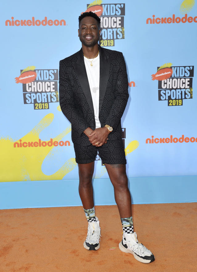 Dwyane Wade arrives at the Kids' Choice Sports Awards on Thursday, July 11, 2019, at the Barker Hangar in Santa Monica, Calif. (Photo by Richard Shotwell/Invision/AP)