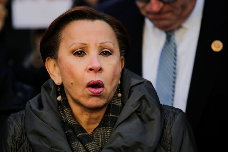 Congresswoman Nydia M. Velazquez speaks to people as they take part in a rally denouncing the targeting of immigrant activists by Immigration Customs Enforcement in the Manhattan borough of New York