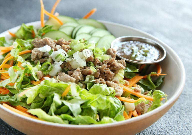 """<p>This salad has the most amazing dressing... </p><p>Get the <a href=""""https://www.delish.com/uk/cooking/recipes/a30762986/chopped-thai-chicken-salad-recipe/"""" rel=""""nofollow noopener"""" target=""""_blank"""" data-ylk=""""slk:Chopped Thai Chicken Salad"""" class=""""link rapid-noclick-resp"""">Chopped Thai Chicken Salad</a> recipe.</p>"""