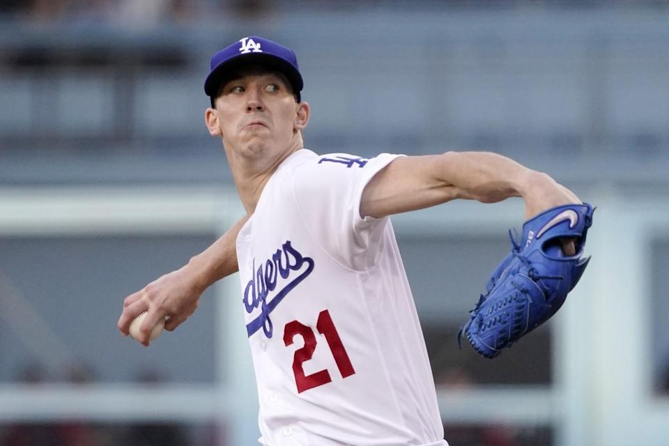 Dodgers starting pitcher Walker Buehler throws during the first inning July 10, 2021, in Los Angeles.