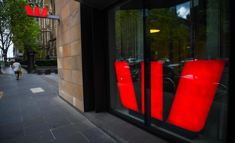 A pedestrian walks past a Westpac bank in Melbournes central business district on September 24, 2020. (Photo by William WEST / AFP) (Photo by WILLIAM WEST/AFP via Getty Images)