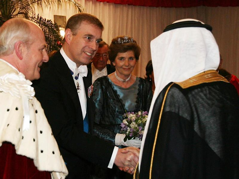 Prince Andrew meets Saudi Arabia's King Abdullah in London before a state banquet in 2007: PA