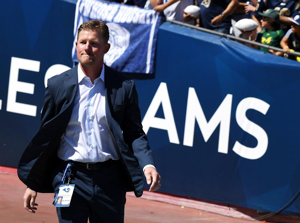 LOS ANGELES, CA - SEPTEMBER 16: General manager Les Snead of the Los Angeles Rams prior to a NFL football game against the Arizona Cardinals at the Los Angeles Memorial Coliseum on September 16, 2018 in Los Angeles, California. (Photo by Keith Birmingham/Digital First Media/Pasadena Star-News via Getty Images)