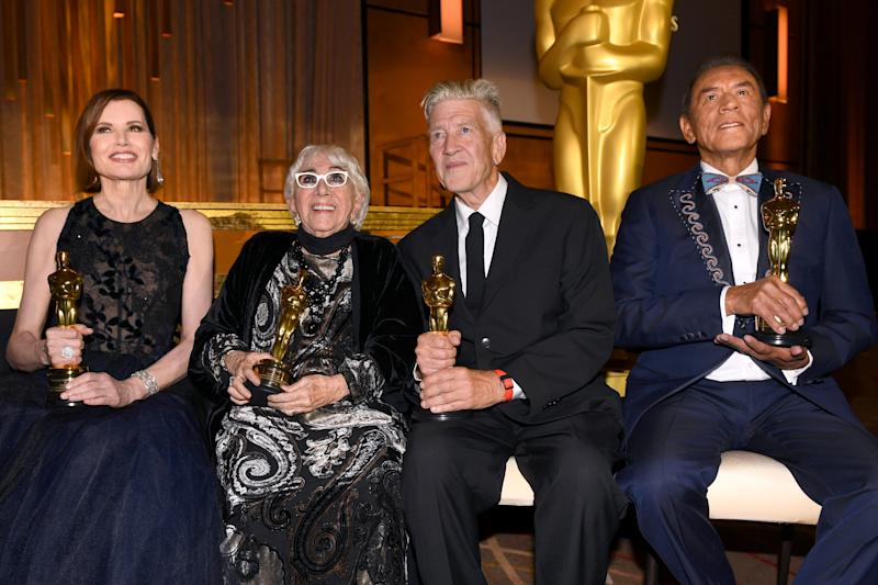 HOLLYWOOD, CALIFORNIA - OCTOBER 27: (L-R) Geena Davis, Lina Wertmüller, David Lynch, and Wes Studi attend the Academy Of Motion Picture Arts And Sciences' 11th Annual Governors Awards at The Ray Dolby Ballroom at Hollywood & Highland Center on October 27, 2019 in Hollywood, California. (Photo by Kevin Winter/Getty Images)