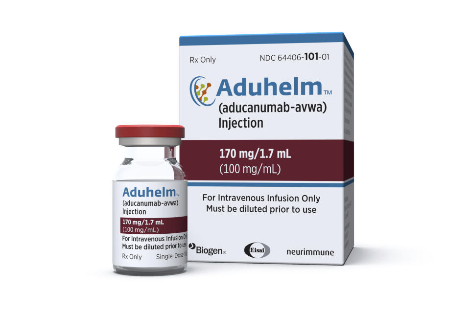 This image provided by Biogen on Monday, June 7, 2021 shows a vial and packaging for the drug Aduhelm. On Monday, June 7, 2021, the Food and Drug Administration approved Aduhelm, the first new medication for Alzheimer's disease in nearly 20 years, disregarding warnings from independent advisers that the much-debated treatment hasn't been shown to help slow the brain-destroying disease. (Biogen via AP)