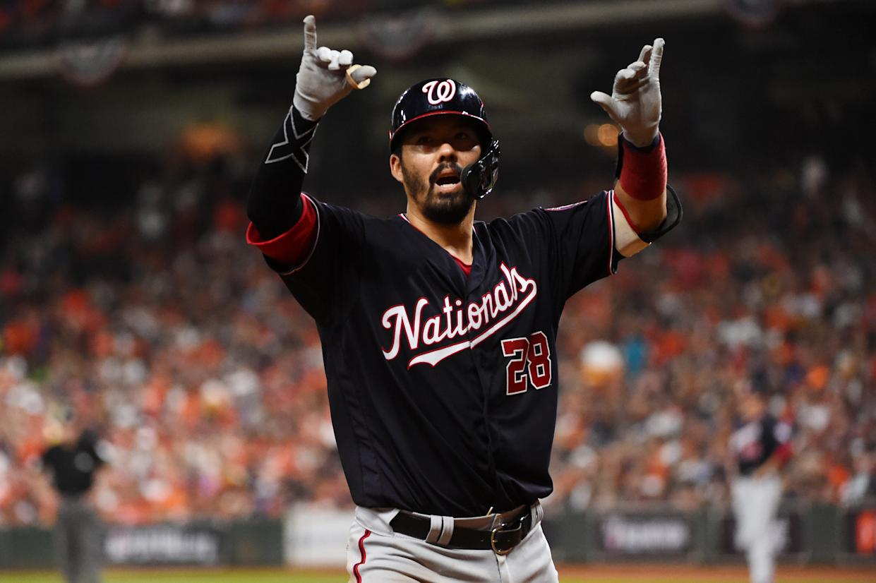 Nationals catcher Kurt Suzuki celebrates his go-ahead home run Game 2 of the World Series. (Photo by Cooper Neill/MLB Photos via Getty Images)