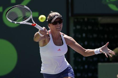 Mar 28, 2017; Miami, FL, USA; Mirjana Lucic-Baroni of Croatia hits a forehand against Karoilina Pliskova of the Czech Republic (not pictured) on day eight of the 2017 Miami Open at Crandon Park Tennis Center. Mandatory Credit: Geoff Burke-USA TODAY Sports