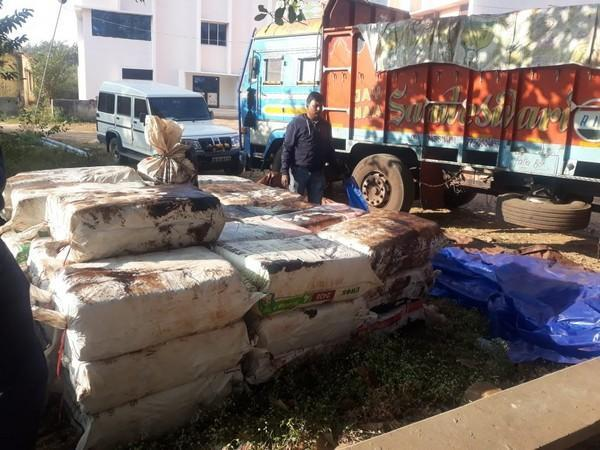 One 12-wheeler truck and other incriminating materials were seized from the spot. (Photo/ANI)