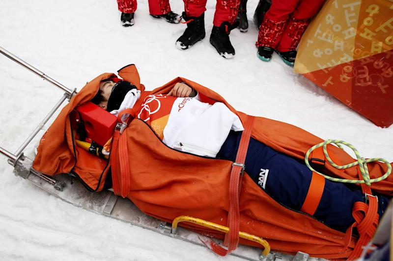 Yuto Totsuka, 16,appeared to collide heavily on the lip of the halfpipe during his run. (Cameron Spencer via Getty Images)