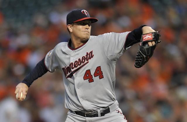 Minnesota Twins starting pitcher Kyle Gibson delivers against the Baltimore Orioles in the first inning of a baseball game, Saturday, Aug. 30, 2014, in Baltimore.(AP Photo/Gail Burton)