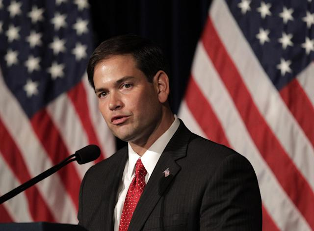 FILE - In this Aug. 23, 2011 file photo, Sen. Marco Rubio, R-Fla. speaks in Simi Valley, Calif. Rubio's push for a Republican version of immigration legislation could be the answer to GOP election-year prayers. The telegenic son of Cuban exiles and potential vice presidential pick is putting together a bill that would allow young illegal immigrants to study and work in the United States but still deny them citizenship. (AP Photo/Jae C. Hong, File)