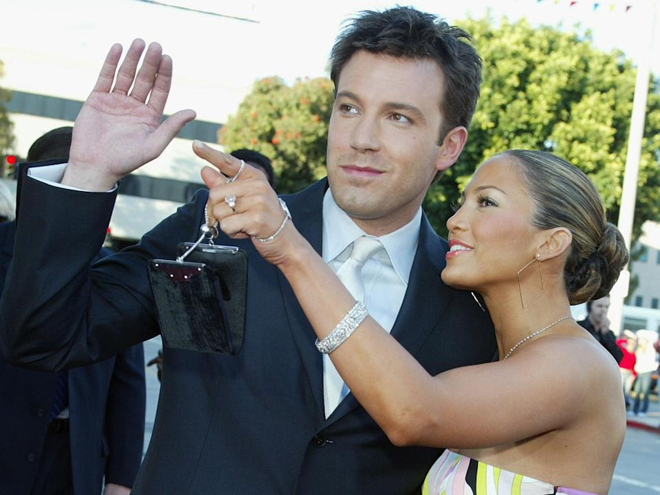 Ben Affleck and Jennifer Lopez at the premiere of 'Daredevil' on 9 February 2003 in Los Angeles (Kevin Winter/Getty)