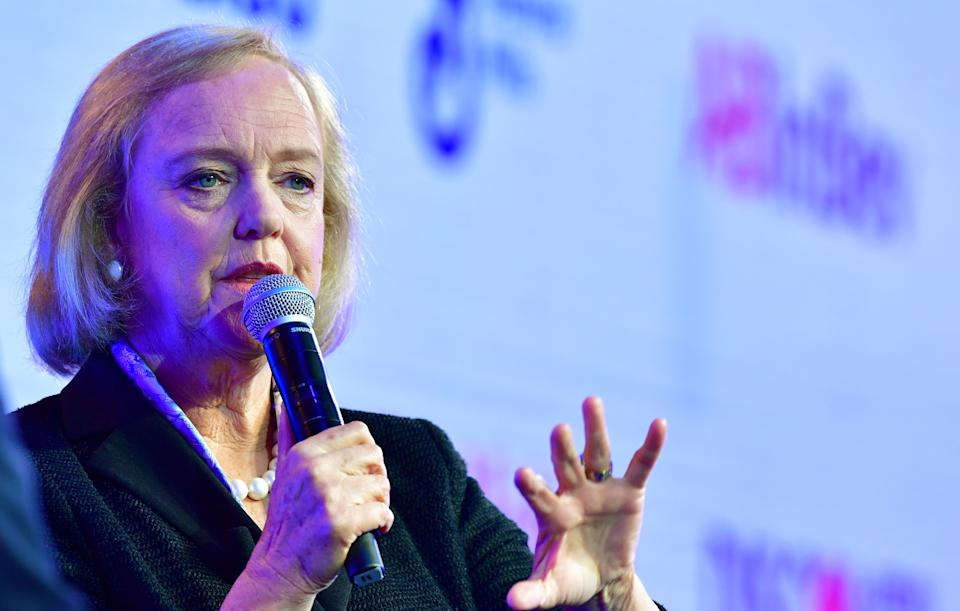 Meg Whitman, CEO of streaming service Quibi, speaks at WSJ Tech Live 2019 in Laguna Beach, California on October 22, 2019. (Photo by Frederic J. BROWN / AFP) (Photo by FREDERIC J. BROWN/AFP via Getty Images)