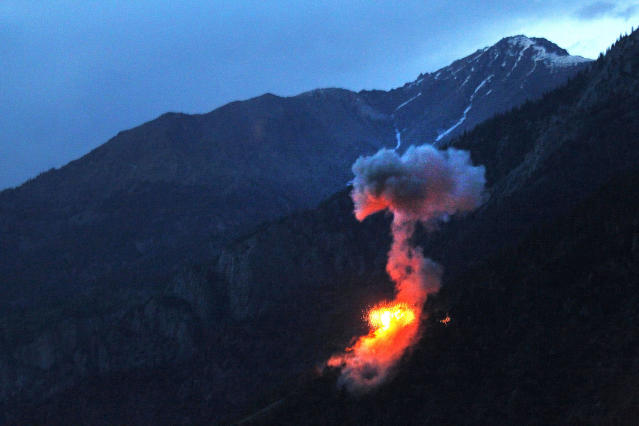 <p>Two 500 pound bombs explode at dusk on a Taliban fighting position near Blocking Position one above Kamdesh in Afghanistan's Nuristan Province, on June 11, 2012. (Photo: Tim Wimborne/Reuters) </p>