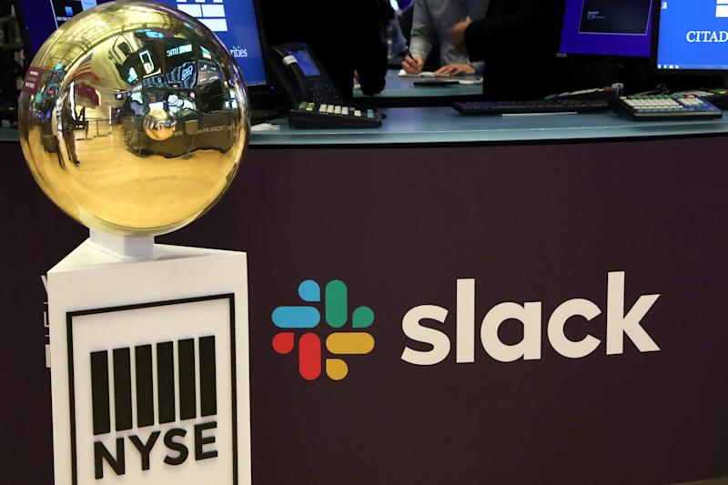 The Slack Technologies Inc. logo is seen during the company's IPO at the New York Stock Exchange (NYSE) in New York, U.S. June 20, 2019. REUTERS/Brendan McDermid