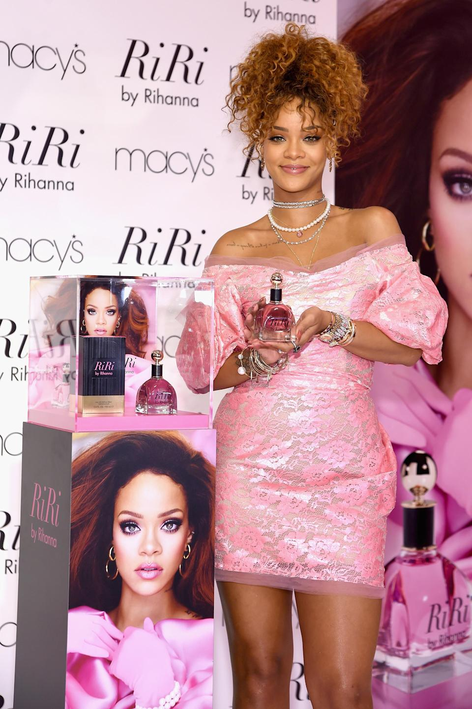 """<p>Rihanna has so far released four perfumes; the first being Reb'l Fleur in 2011. It was <a href=""""http://wwd.com/beauty-industry-news/fragrance/rihanna-rings-in-fragrance-sales-3597710/"""" rel=""""nofollow noopener"""" target=""""_blank"""" data-ylk=""""slk:expected to make £60 million"""" class=""""link rapid-noclick-resp"""">expected to make £60 million</a> in its first year although there are no official figures to confirm this. Her second, Rebelle, became the fastest selling celebrity fragrance in the UK, selling over two million bottles in just six months.<br><i>[Photo: Getty]</i> </p>"""