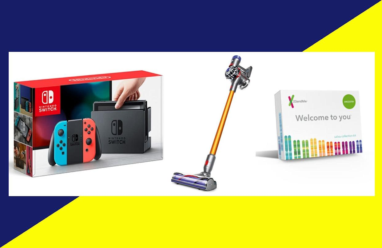 Top Amazon Prime Day deals from 2018 included items like Nintendo Switch accessories, Dyson vacuums, and the 23andMe DNA kit. (Photo: Amazon x HuffPost)