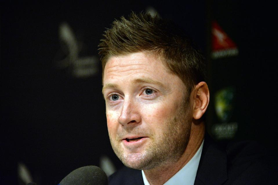Australia captain Michael Clarke speaks during a press conference upon his arrival from Dubai at Sydney International Airport on November 5, 2014 (AFP Photo/Saeed Khan)