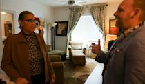 Dina Jacobs speaks with Chief Development Officer of the Montrose Center, Kennedy Loftin, during the opening the Law Harrington Senior Living Center in Houston, Texas