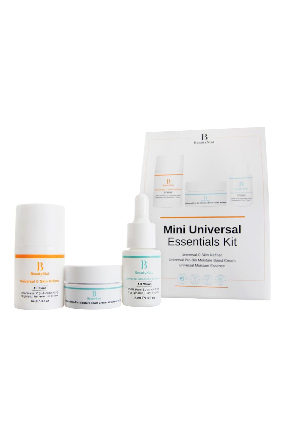 <p>He'll love the <span>BeautyStat Travel Size Universal Essentials Set</span> ($39). This kit focuses on infusing hydration and starting the anti-aging journey. It's perfect for a beginner!</p>