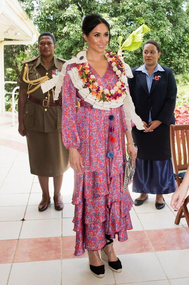 Meghan Markle attended a morning tea reception at the British High Commissioner's Residence on 24 October 24, 2018 in Suva, Fiji wearing the black version of the Carina Castañer wedges. (Getty Images)