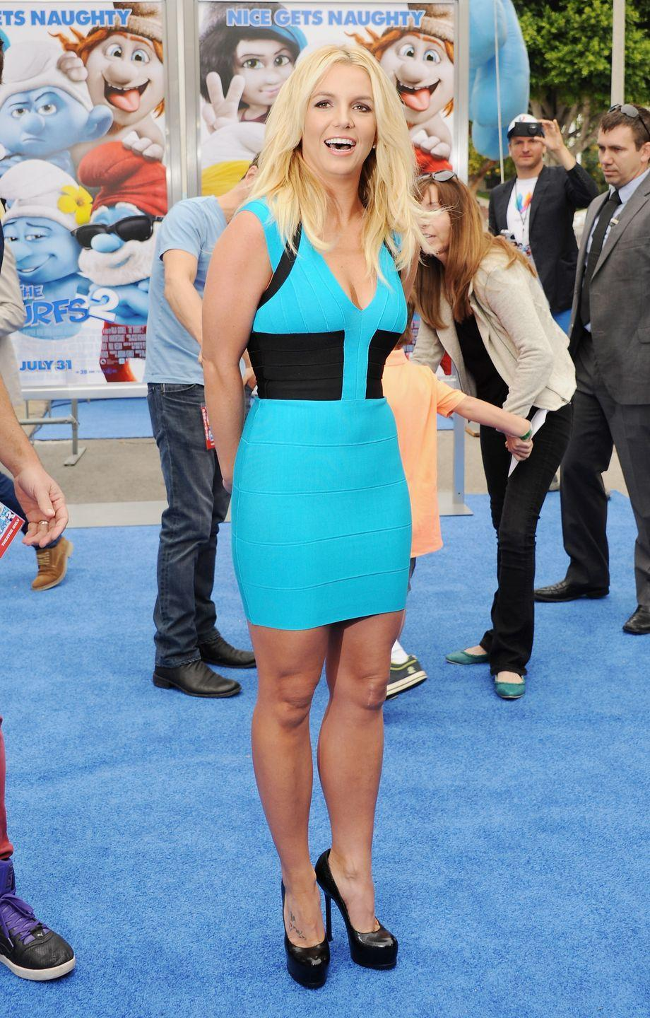 <p>Here, Britney shows up dressed to the theme in a blue body-hugging mini at the premiere of <em>Smurfs 2 </em>in Westwood, California. </p>