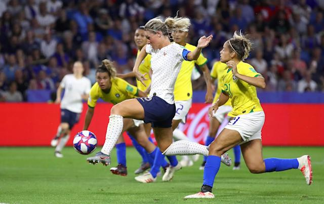 Amandine Henry of France scores her team's second goal during the 2019 FIFA Women's World Cup France Round Of 16 match between France and Brazil at Stade Oceane on June 23, 2019 in Le Havre, France. (Photo by Alex Grimm/Getty Images)
