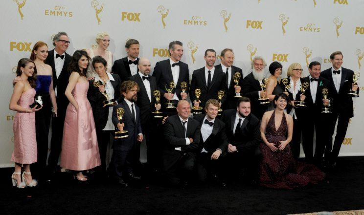 Just a portion of the massive cast on 'Game of Thrones' at the 2015 Primetime Emmy Awards (Photo By: Elizabeth Goodenough/Everett Collection)