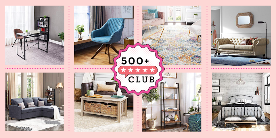 """<p><em>The 500+ Club helps take the guesswork out of shopping on Amazon. The product experts at Good Housekeeping have vetted the below products to ensure they're worth your money. Each one boasts at least 500 reviews and a minimum 4-star rating from real, verified reviewers, so you can trust that you're purchasing products that actually work, according to users and experts.</em></p><hr><p>Now that we're home more, we're starting to pay more attention to the <a href=""""https://www.goodhousekeeping.com/home-products/g28005333/best-online-furniture-stores-sites/"""" rel=""""nofollow noopener"""" target=""""_blank"""" data-ylk=""""slk:furniture"""" class=""""link rapid-noclick-resp"""">furniture</a> pieces we have at home and how they serve a purpose in our space. From building work-from-home stations to refreshing an outdated room, a lot of us are looking to buy new and cute furniture, quickly and on a budget. That's where Amazon comes in!</p><p>Amazon doesn't lie when it says it has everything: Besides offering <a href=""""https://www.goodhousekeeping.com/beauty/fashion/g34016334/best-selling-sweaters-amazon/"""" rel=""""nofollow noopener"""" target=""""_blank"""" data-ylk=""""slk:trendy sweaters"""" class=""""link rapid-noclick-resp"""">trendy sweaters</a> and <a href=""""https://www.goodhousekeeping.com/home/organizing/g27075532/best-selling-organizing-products-amazon/"""" rel=""""nofollow noopener"""" target=""""_blank"""" data-ylk=""""slk:satisfying home organizing products"""" class=""""link rapid-noclick-resp"""">satisfying home organizing products</a>, the retailer has a bunch of big ticket furniture items like beds and <a href=""""https://www.goodhousekeeping.com/home-products/g29892090/best-mattresses/"""" rel=""""nofollow noopener"""" target=""""_blank"""" data-ylk=""""slk:mattresses"""" class=""""link rapid-noclick-resp"""">mattresses</a> to <a href=""""https://www.goodhousekeeping.com/home-products/g33471596/best-standing-desks/"""" rel=""""nofollow noopener"""" target=""""_blank"""" data-ylk=""""slk:standing desks"""" class=""""link rapid-noclick-resp"""">standing desks</a> and <a href=""""https://www.g"""