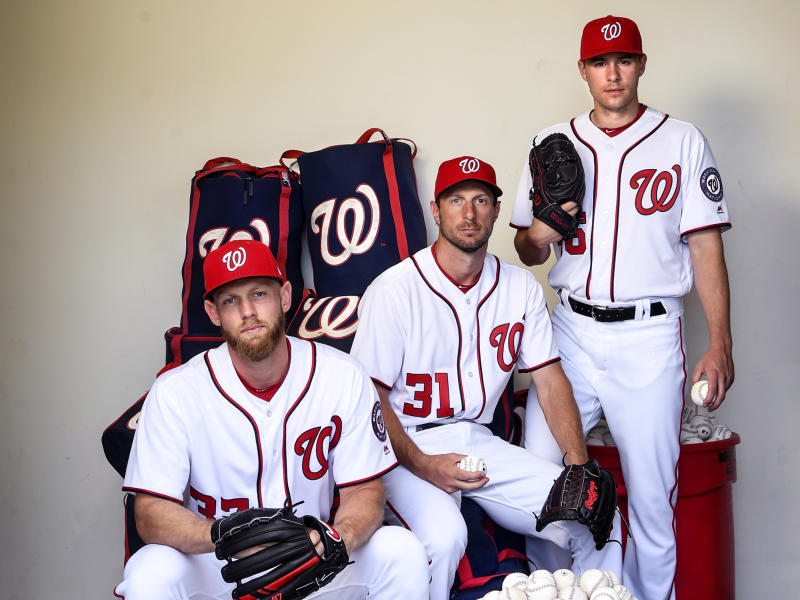 Stephen Strasburg (left), Max Scherzer and Patrick Corbin (right) gave Washington the National League's best pitching trio. (Photo by Toni L. Sandys/The Washington Post via Getty Images)