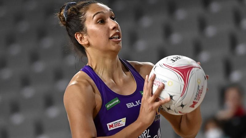Jemma Mi Mi is pictured playing for the Queensland Firebirds.