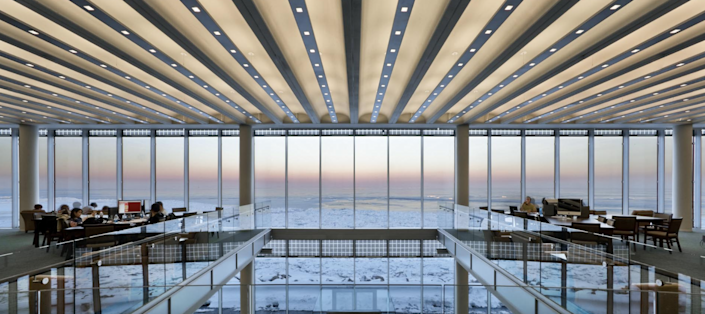 Built in 2007 by local firm Solomon Cordwell Buenz, the Loyola Information Commons at Loyola University Chicago gives students unparalleled views of Lake Michigan.