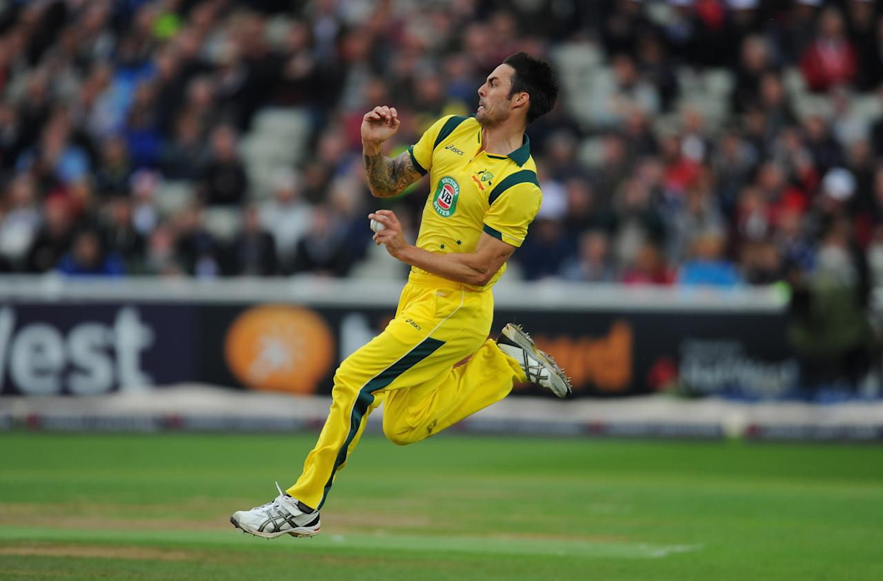 BIRMINGHAM, ENGLAND - SEPTEMBER 11:  Australia bowler Mitchell Johnson in action during the 3rd Natwest Series One Day International between England and Australia at Edgbaston on September 11, 2013 in Birmingham, England.  (Photo by Stu Forster/Getty Images)